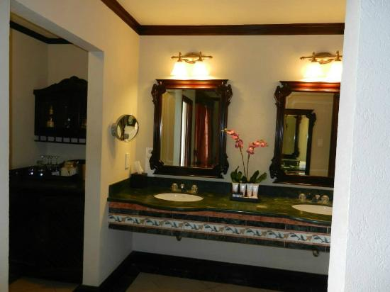 Sandals Montego Bay: Double Vanity.  To the left a walk in closet