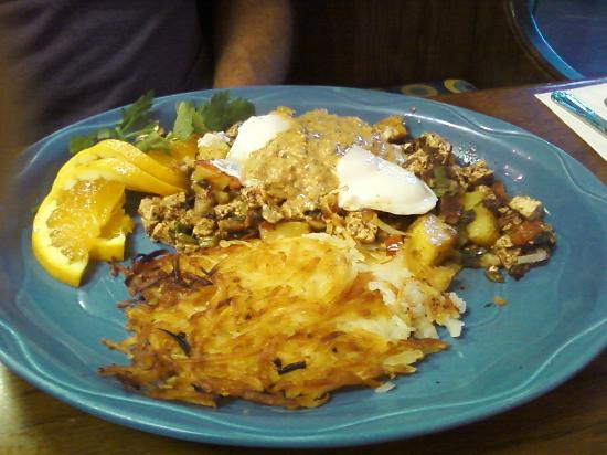 Morning Glory Restaurant: Southwestern vegetable hash with Chipolte cream sauce
