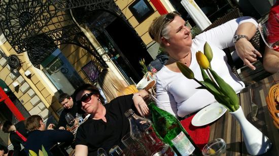 Tribeca: Enjoying Swedish/Serbian wine Dolina-Bacina in the sun. ...april 2015