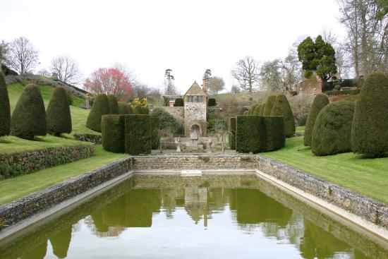 Mapperton Gardens: View of the pool
