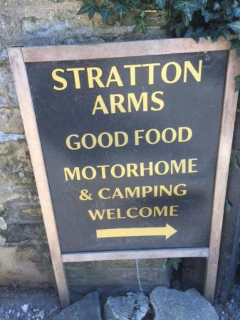 Stratton Arms Welcome sign