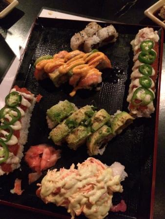 Takosushi : TNT(bottom),lobster roll (topped with avo),Crazy roll (topped with orange spicy sauce), spicy tu