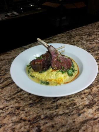 Indulge at the Oaks Hotel : Half rack of lamb with polenta and cream of spinach
