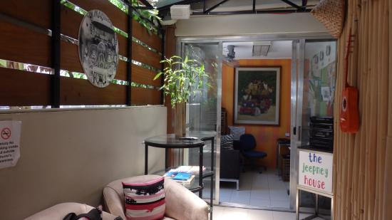 The Jeepney House: The reception area of the hostel.