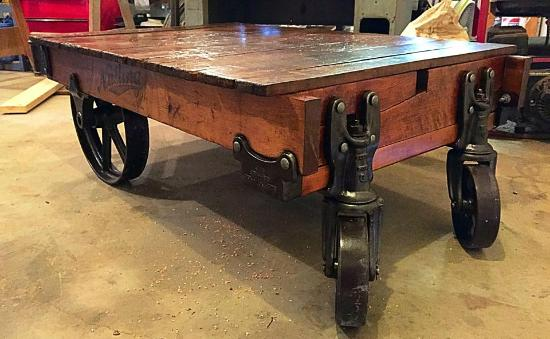 industrial kitchen cart with butcher block counter top Picture