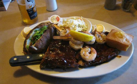 Montana's BBQ & Bar: Steak and shrimp cooked to perfection