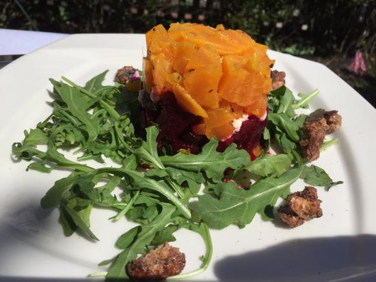 Logan Inn: Roasted red and golden beet salad with goat cheese and arugula, candied nuts