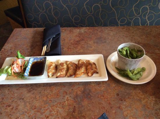 Momo Sushi & Grill: I always start with Edamame and Gyoza.