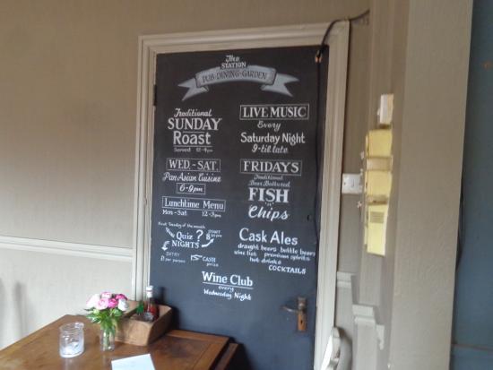 The Station Pub: Full week menu