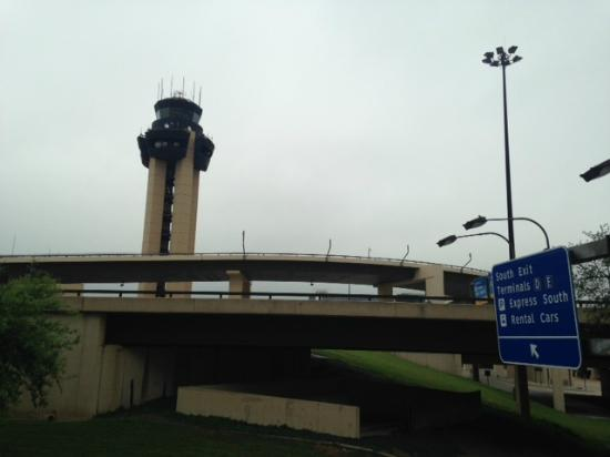 view of dfw airport control tower from the hyatt dfw pool. Black Bedroom Furniture Sets. Home Design Ideas
