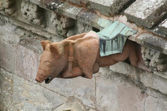 Melrose Abbey - Gargoyle, pig playing the bagpipes