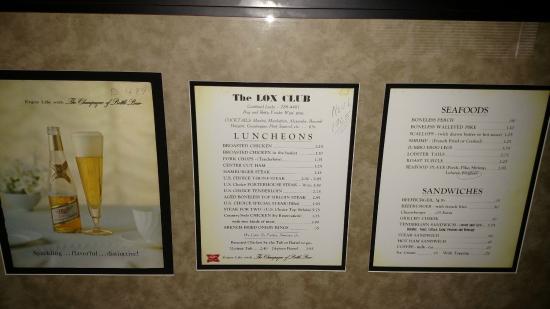 Lox Club - Classic Wisconsin Supper Club - Phoebe's Haddock - Combined Locks - 1965 menu