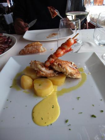 Restaurante Guernica: pixin con brocheta de langostinos
