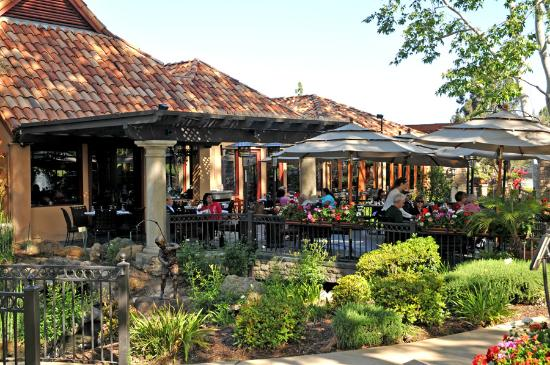 Outdoor dining patio at Mediterraneo onsite restaurant