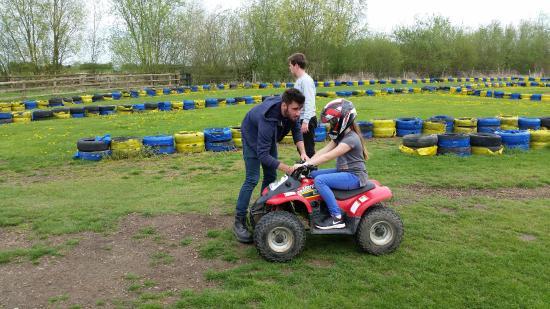 Thurleigh Farm Centre: Having a talk on the logistics of riding a quad
