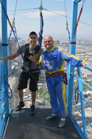 SkyJump Las Vegas: Getting ready to jump, the young man with me was great!