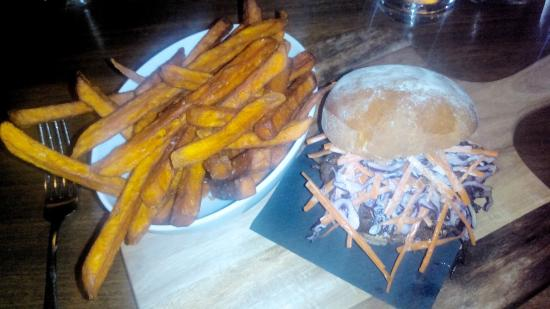 The Denman Hotel Thredbo: Pulled Pork Burger with Sweet potato fries