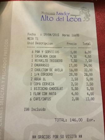 Guadarrama, İspanya: La cuenta para 6 comensales
