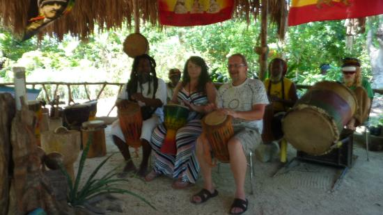 Rastafari Indigenous Village: Participating in drumming/chanting.