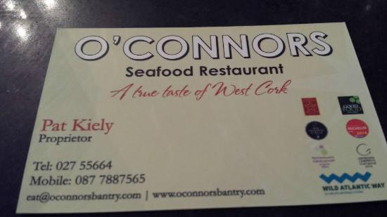 O'Connors Seafood Restaurant: Contact Details