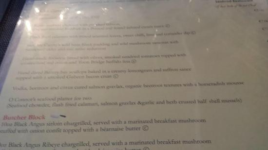 O'Connors Seafood Restaurant: Menu, great selection