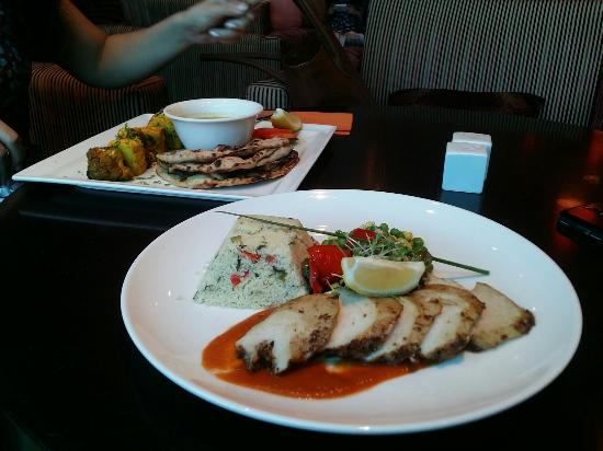 Balance Cafe: Tofu dish/ chicken with couscous