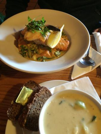 The Roadside Tavern: Potato and leek soup and salmon with vegetable curry with sweet potato
