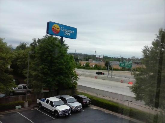 Comfort Inn West: view from room of busy  freeway
