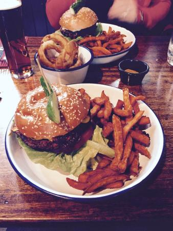 """Duke's Corner: """"Bambi"""" burger (venison) with sweet potato fries. Just one of a huge selection of great burgers"""