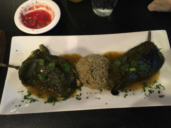 """Frida's Contemporary Mexican Cuisine: My wife's stuffed poblanos with """"green rice"""""""