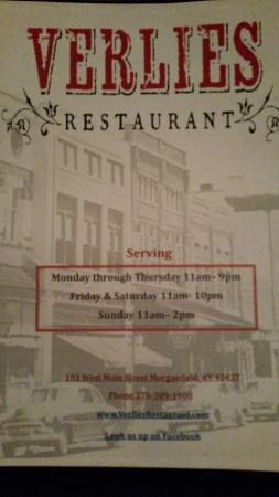 Morganfield, KY: Verlie's Restaurant
