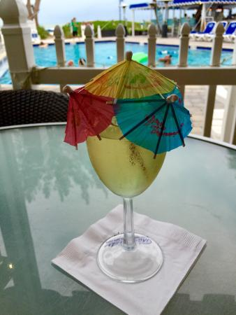 Guy's Gulfside Grill: What makes wine festive? Umbrellas by the boatload!