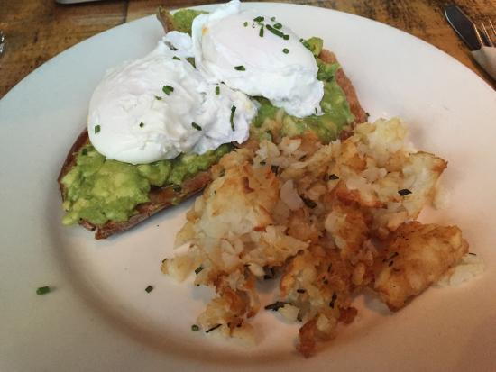 The Grove: Poached egg, avocado and toast with hashbrowns