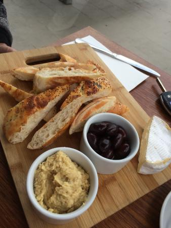 Share plate  @ $22.50  chick pea dip, olives, some sort of soft cheese and bread!