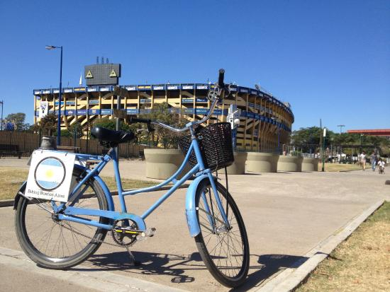 Biking Buenos Aires: Passing by La Bombonera - the stadium in La Boca