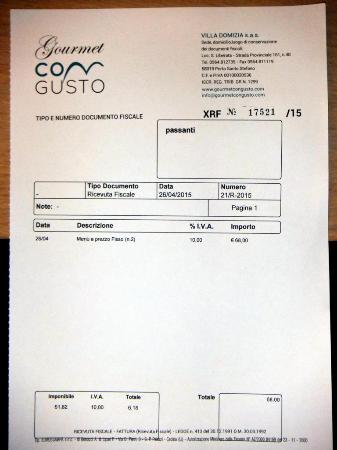 Porto Santo Stefano, Italy: bill for restaurant