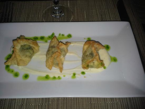 The Fifth Season: Spinach-mushroom-artichoke wontons.