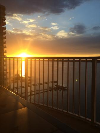 Bel Sole Condominiums: Sunset from lagoon side balcony