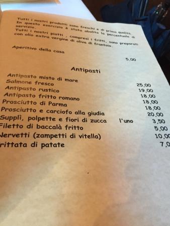 Checco er Carrettiere : ...menù...