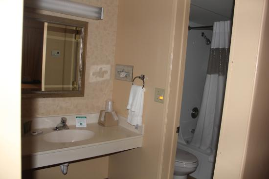 Great Falls TownHouse Inn: Bathroom with exterior sink