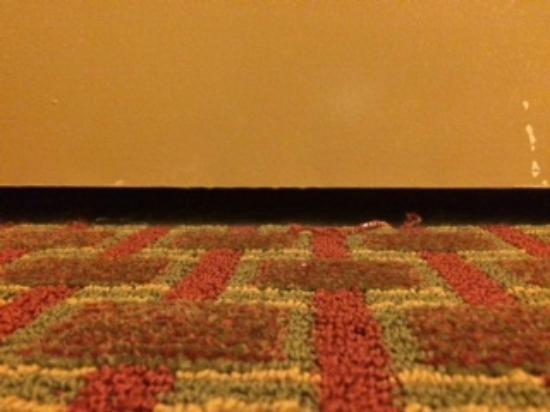 Quality Inn & Suites: Gap between adjoining room door and carpet