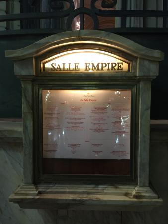 Salle Empire: Cardápio
