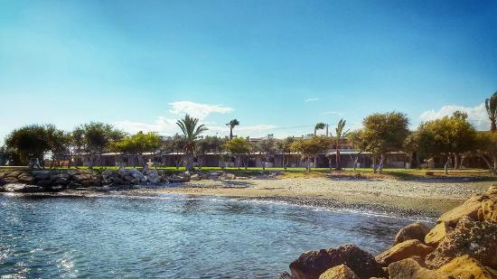 Elya Beach Luxury Suites: View of Hotel from beach