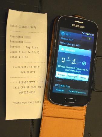 Hotel Olympic : WiFi gratuit mais IMPOSSIBLE d'obtenir une connexion
