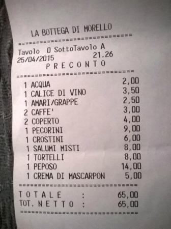 Sesto Fiorentino, Italy: Il conto..