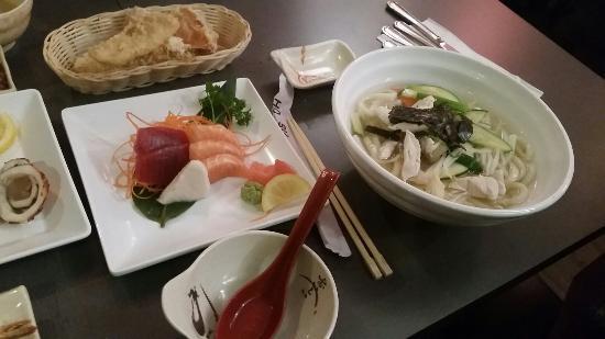 HoSu Bistro: Grilled squid. ..sushi...chicken udon noodle soup...bibimbap. ..