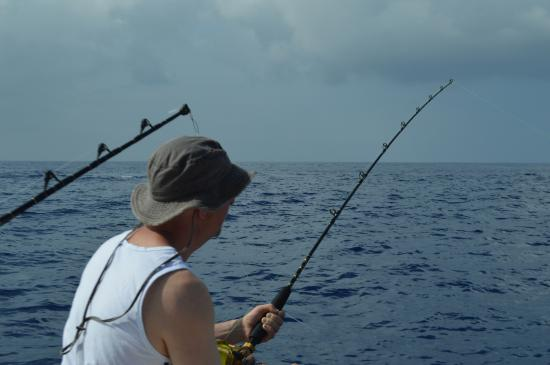 Capt. Jack - Kona Sportfishing: my husband catching some  bait fish,,,