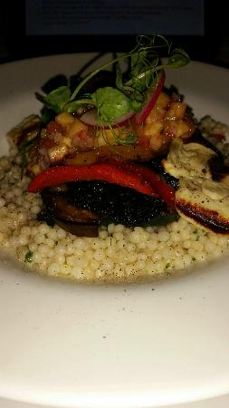 The Exchange Bar & Brasserie: Layered Char Grilled Vegetable (V) with Israeli cous cous, grilled haloumi & spicy pineapple sal