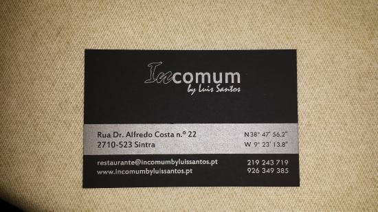 Incomum By Luis Santos La Carte De Visite