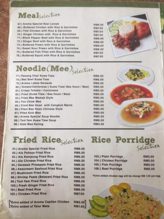 The G Cafe Kuching Menu